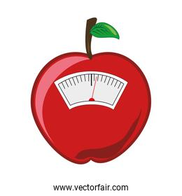 color silhouette with scales for weight control in shape of apple