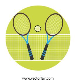 color circular frame with ball and net and tennis rackets