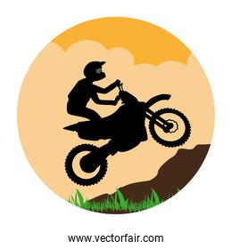 circular landscape with sports motorcyclist