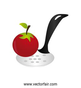 color silhouette with spoon and tomato