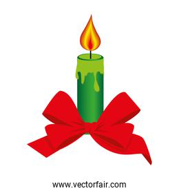color silhouette with christmas candle and red bow