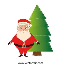 color silhouette with santa claus and christmas tree