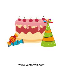 colorful picture cake and candies with hat party