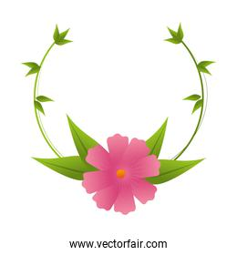 crown of leaves with pink flower design