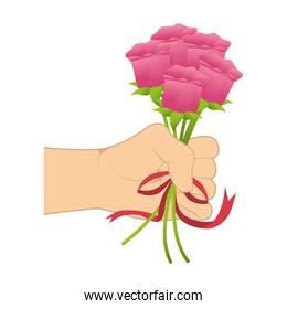 hand holding a roses bouquet with ribbon tape
