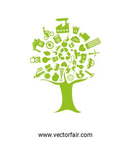 tree with enviroment of recycle and ecology