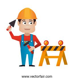 color silhouette with worker with helmet and barrier closed road