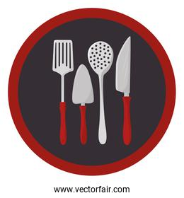 colorful circular frame with utensils kitchen icon design