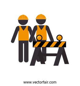 silhouette road construction and workers group
