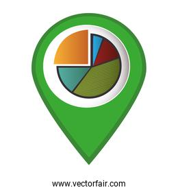mark icon pointer with Pie chart graphic