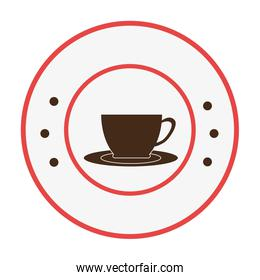 circular frame with with cup coffee
