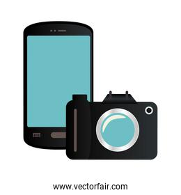 color silhouette with smartphone and analog camera