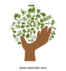 hand with enviroment of recycle and ecology