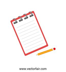notebook with pencil isolated icon