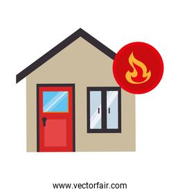 house with fire flame isolated icon