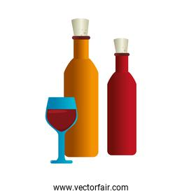 wine cup an bottle isolated icon