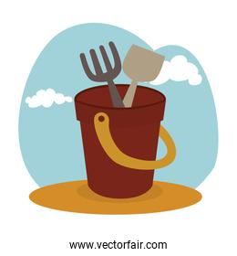 sand bucket baby toy icon