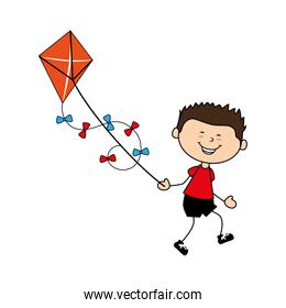 cute boy flying kite avatar character
