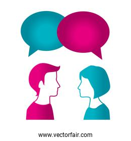couple with speech bubble