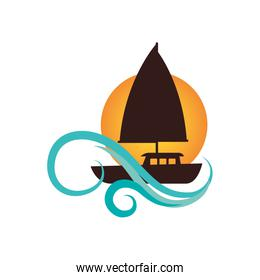 sailboat summer isolated icon