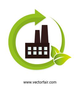 green factory building icon