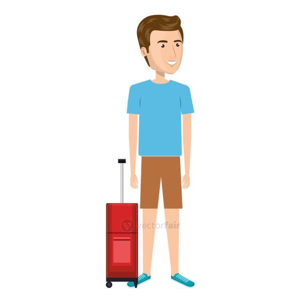 cartoon man with travel briefcase in casual suit
