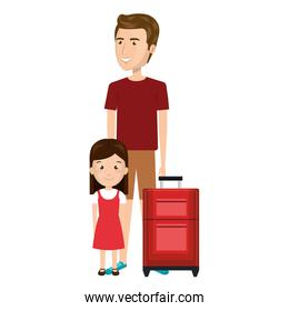 cartoon man with travel briefcase and girl