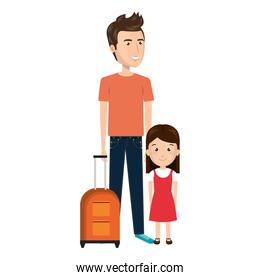 cartoon father with travel briefcase and daugther girl