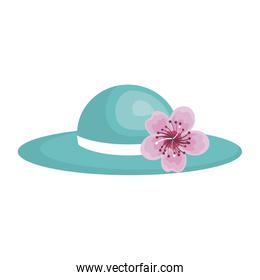 blue elegant hat lace with lily flower