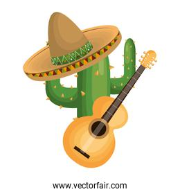 cactus with mexican hat with thorns and acoustic musical guitar