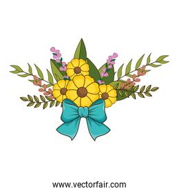 flowers bouquet floral design with leaves and blue ribbon tape