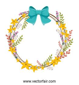 circular border with yellow flowers and blue ribbon