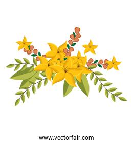 yellow lily flowers crown floral design with leaves