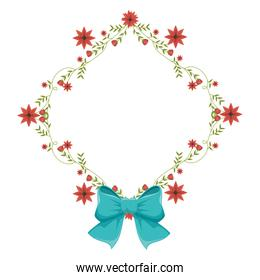 diamond frame with creepers and red flowers and blue ribbon