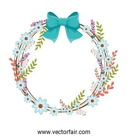 circular ornament with blue flowers and ribbon