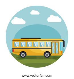 colorful circular frame with landscape with school bus