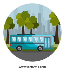 colorful circular frame with landscape with bus on city