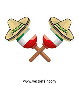 pair mexican maraca instrument with traditional hat