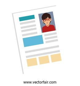 woman file info with curriculum vitae sheet