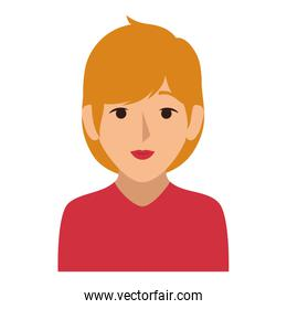 colorful silhouette half body woman with blond hair