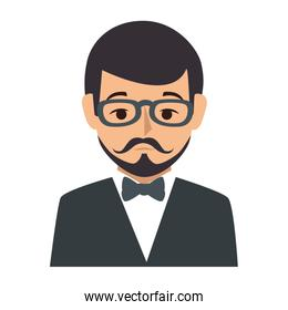 colorful silhouette half body man formal style with mustache