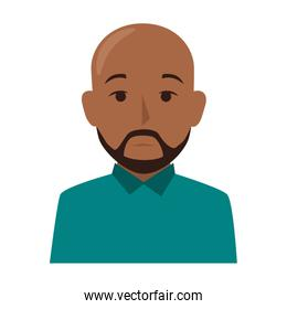 colorful silhouette half body brunette bald man with beard