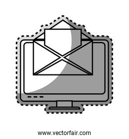 monochrome contour sticker with lcd monitor and envelope mail on screen