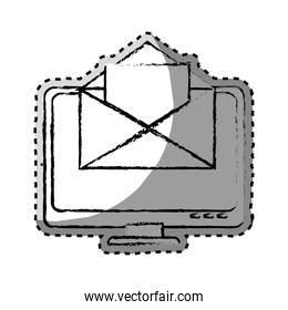 sticker monochrome blurred with with lcd monitor and envelope mail on screen