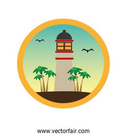 colorful circular frame with lighthouse and palm trees