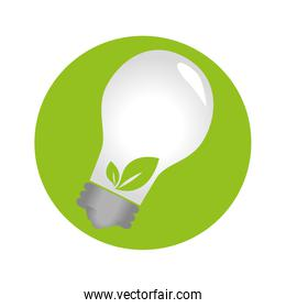 circular emblem with bulb light with leaves