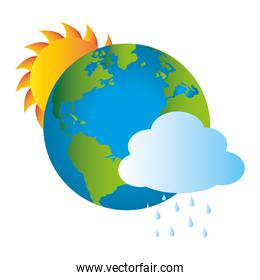 colorful earth world map with rainy cloud and sun