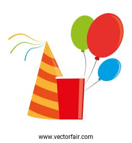 color silhouette with party hat and balloons and disposable cup