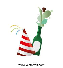 champagne bottle with cork expelled and party hat