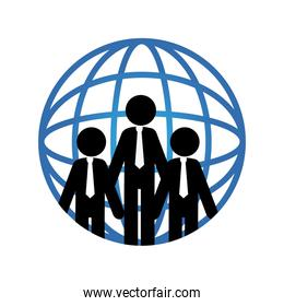pictogram world map and executives